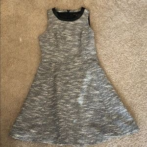 Dress with leather detail